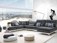 Leather Modern Sectional Chaise Ottoman Pillows Set #vgfthorizon for Best of Leather Sectional Modern