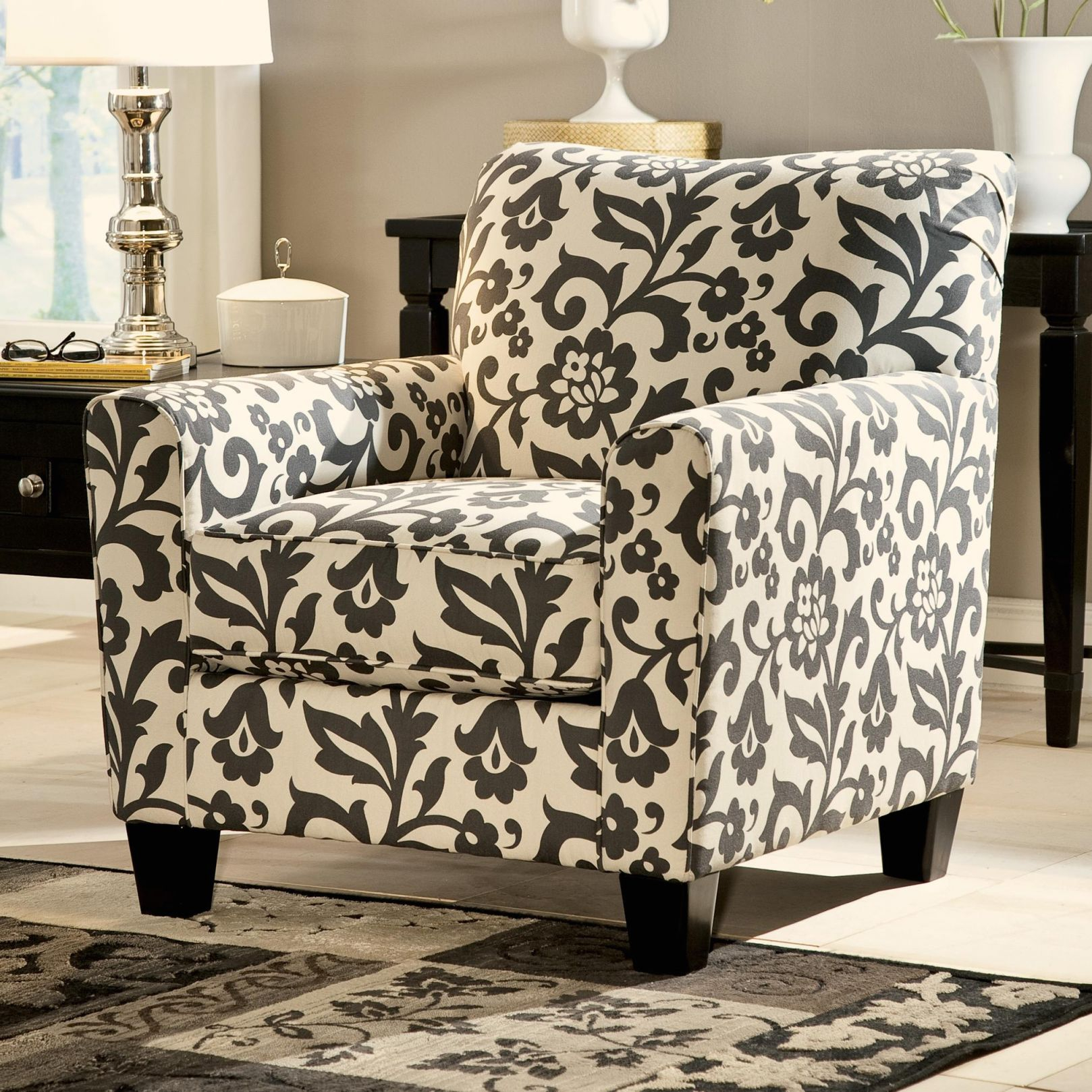 Levon - Charcoal Accent Chair In Floral Printsignature Designashley  At Household Furniture in Living Room Furniture Accent Chairs