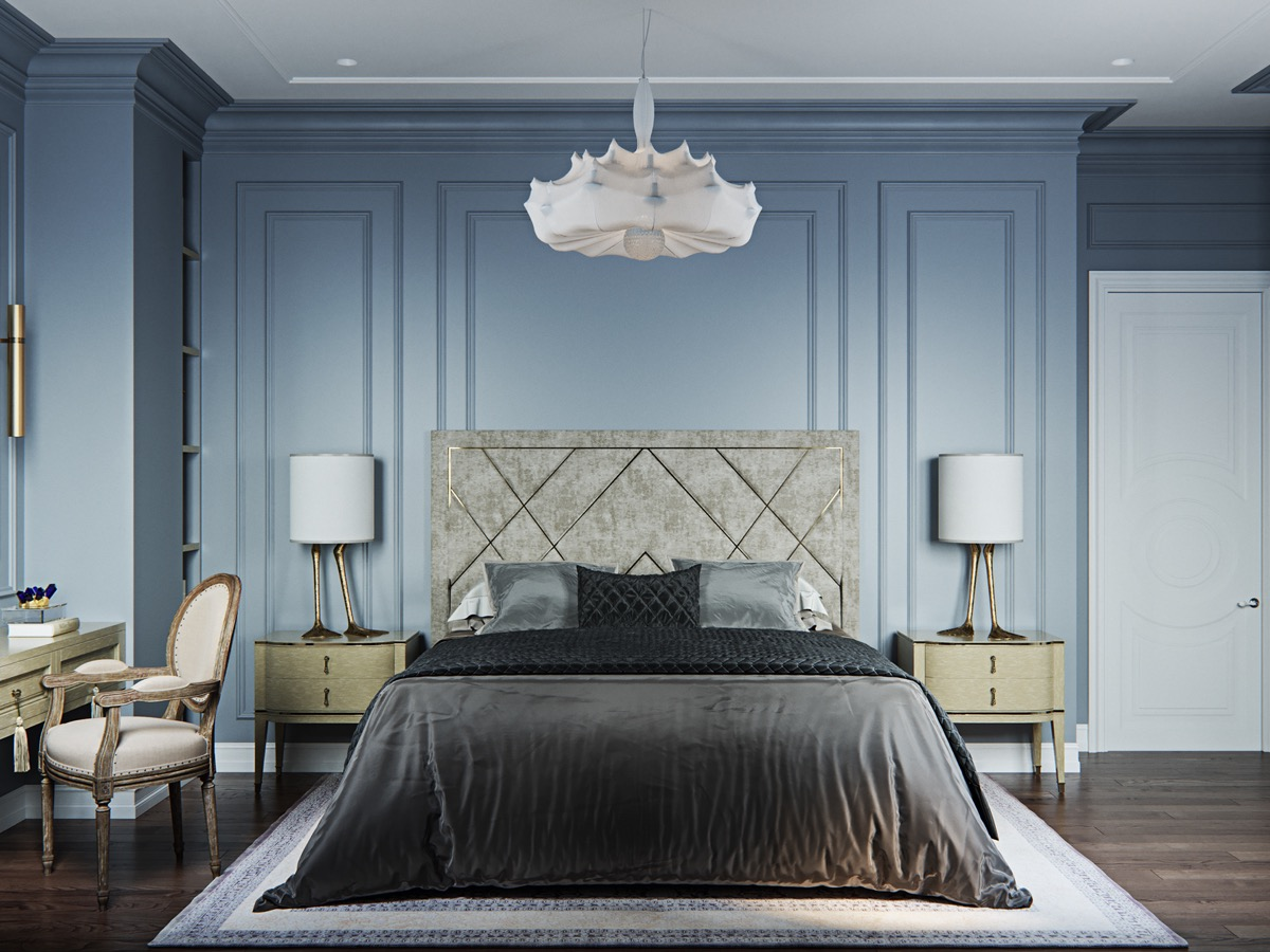 light-blue-transitional-bedroom-with-unique-duck-foot-lamps-and-webbed-chandelier