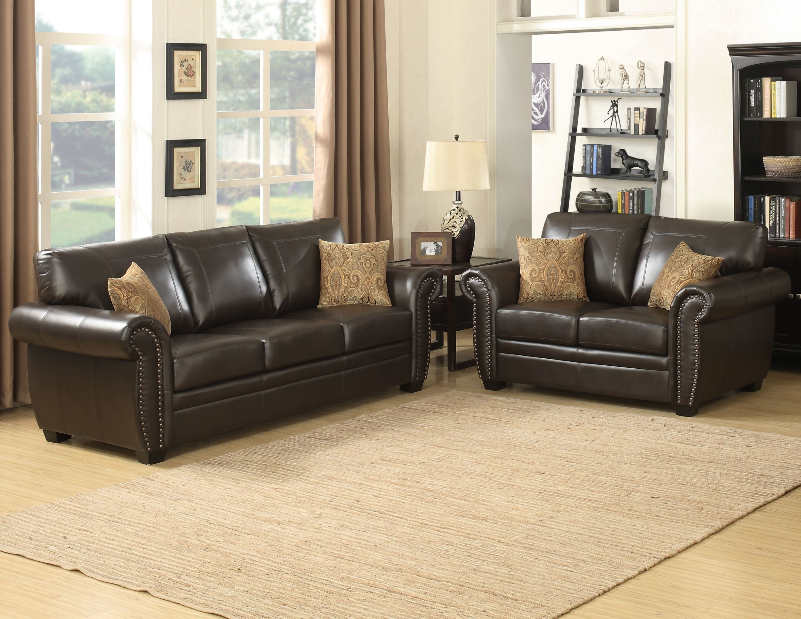 Louis Collection Traditional 2-Piece Upholstered Leather Living Room Set  With Sofa, Loveseat And 4 Accent Pillows, Brown within Leather Living Room Sets