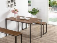Louis Modern Studio Collection Soho Dining Table With Two Benches / 3 Piece Set within Best of Dining Table Set