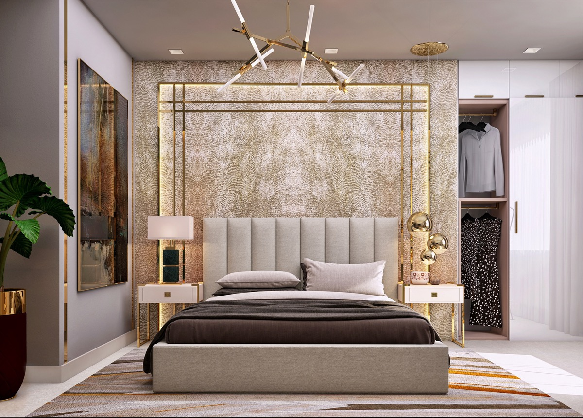 luxurious-transitional-bedroom-ideas-with-gold-accessories-and-lighting