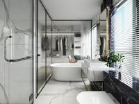 luxury-glass-wall-bathroom-with-white-marble-floors-and-black-marble-walls