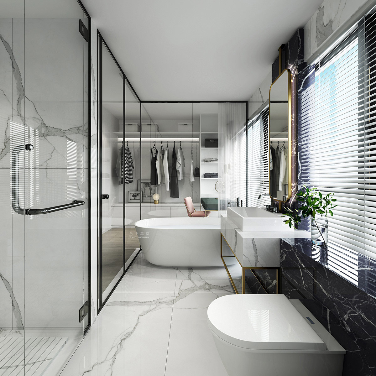 Peachy Luxury Glass Wall Bathroom With White Marble Floors And Download Free Architecture Designs Lukepmadebymaigaardcom