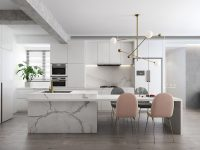 luxury-kitchen-with-marble-island-and-millennial-pink-chairs-with-brass-chandelier