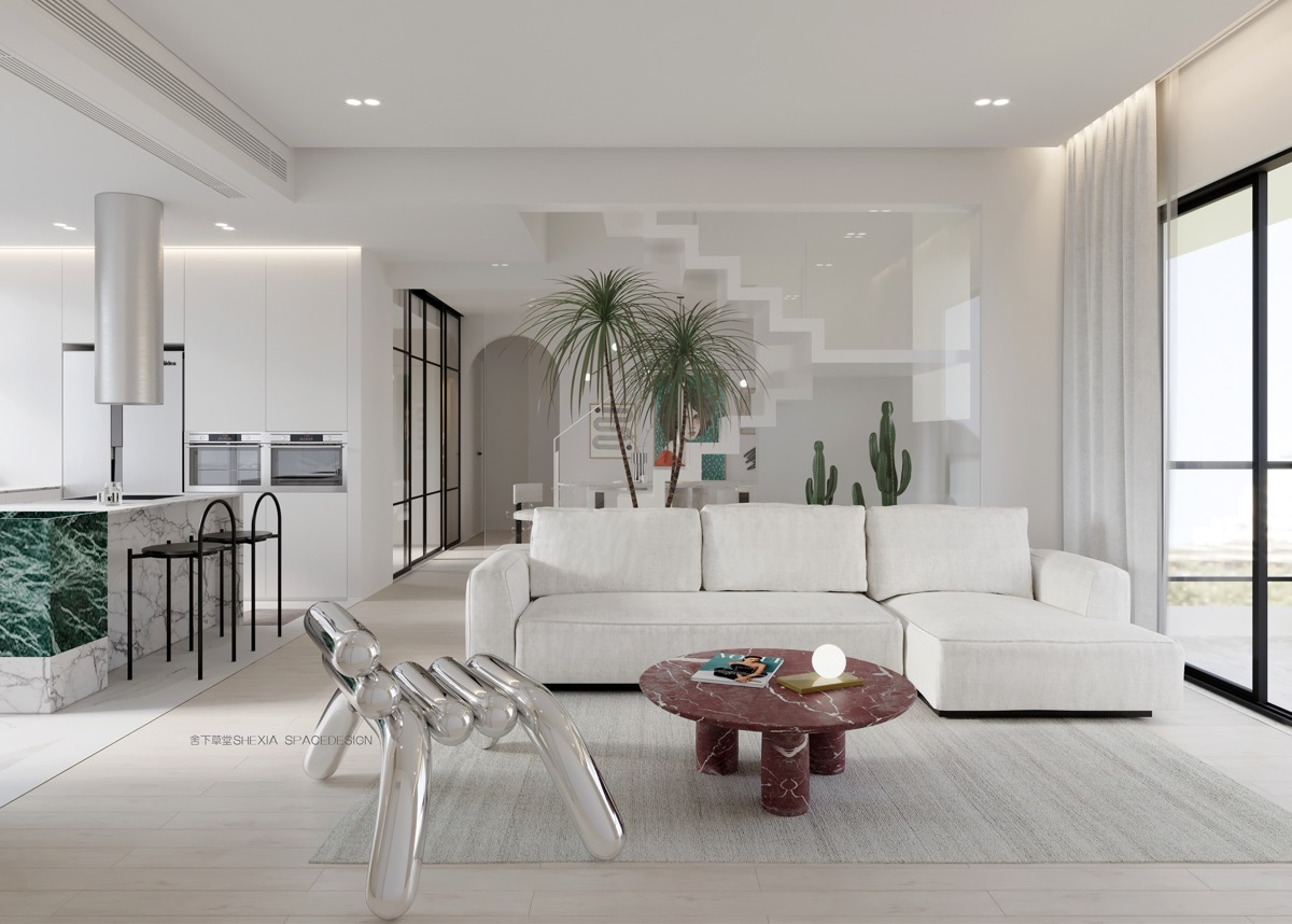 Luxury Modern Living Room With Red Marble Coffee Table And Green Marble Accents Awesome Decors