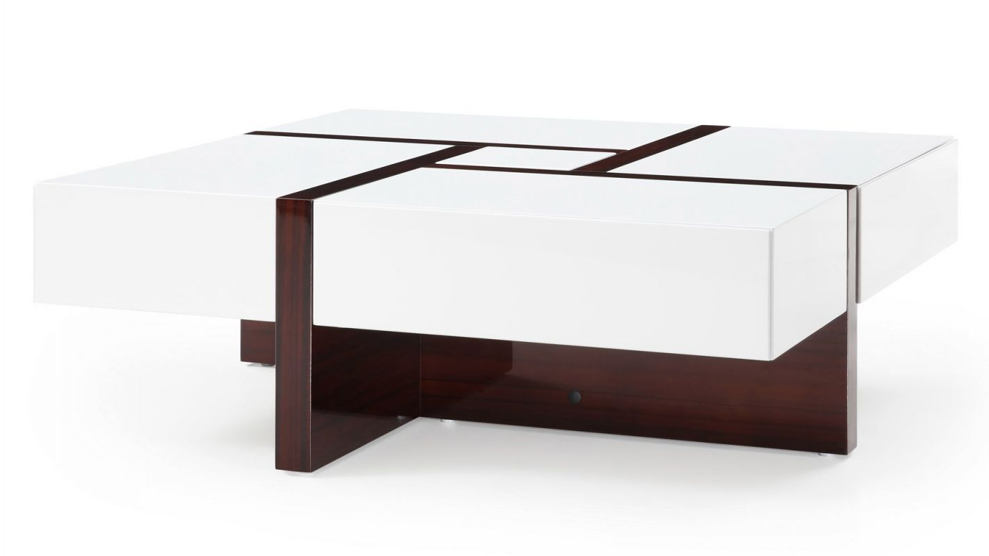 Mcintosh Square Coffee Table – White And Ebony intended for Square Coffee Table With Storage