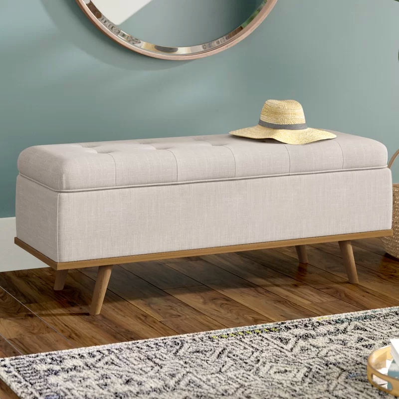 mid-century-modern-beige-upholstered-storage-bench-with-wood-legs