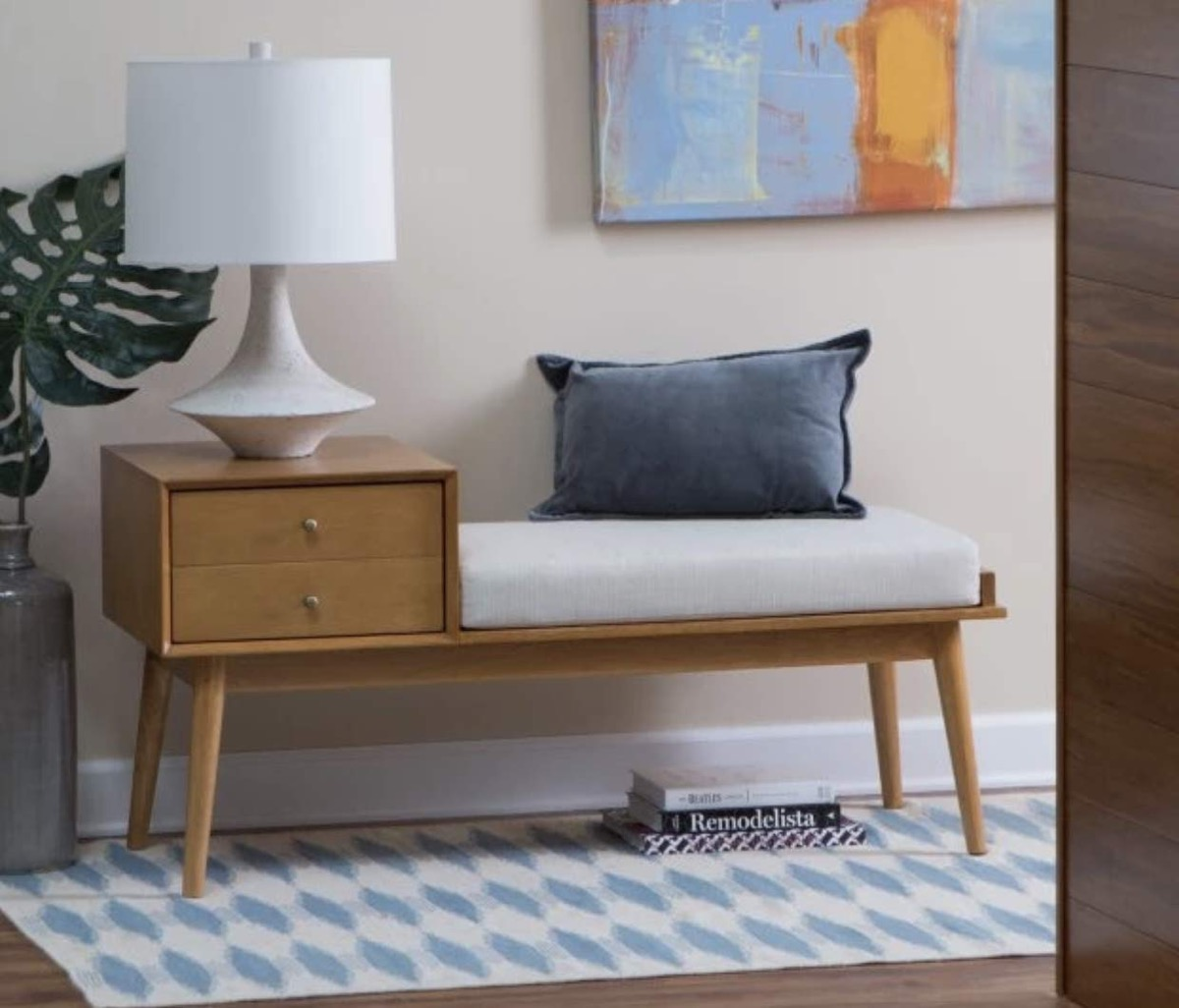 mid-century-modern-entryway-bench-with-storage-and-white-cushion