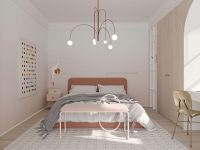 millennial-pink-bedroom-with-unique-modern-chandelier