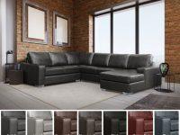 Mitchell Modern Premium Top Grain Italian Leather Sectional Sofa with Leather Sectional Modern