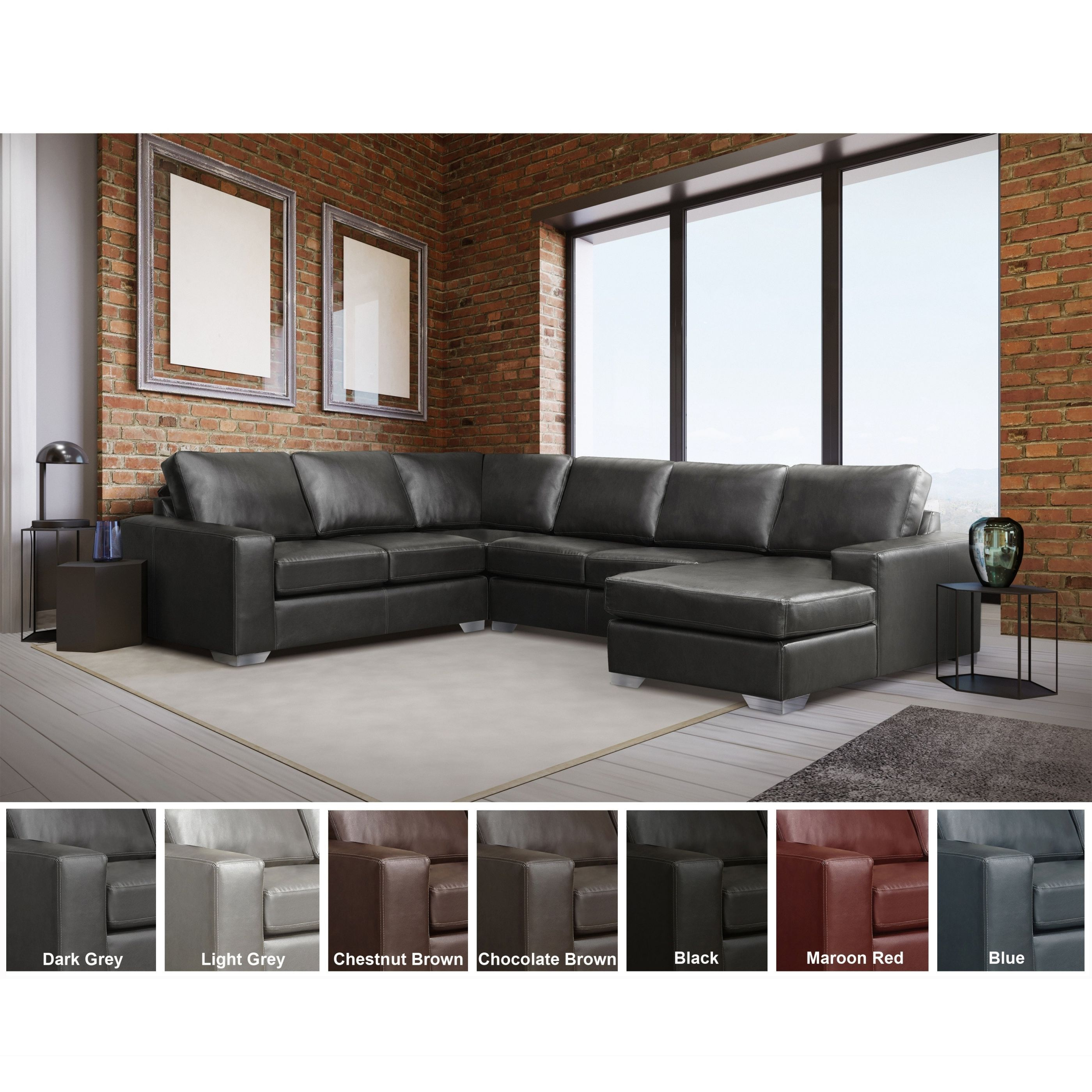 Mitchell Modern Premium Top Grain Italian Leather Sectional Sofa with Leather Sectional Modern