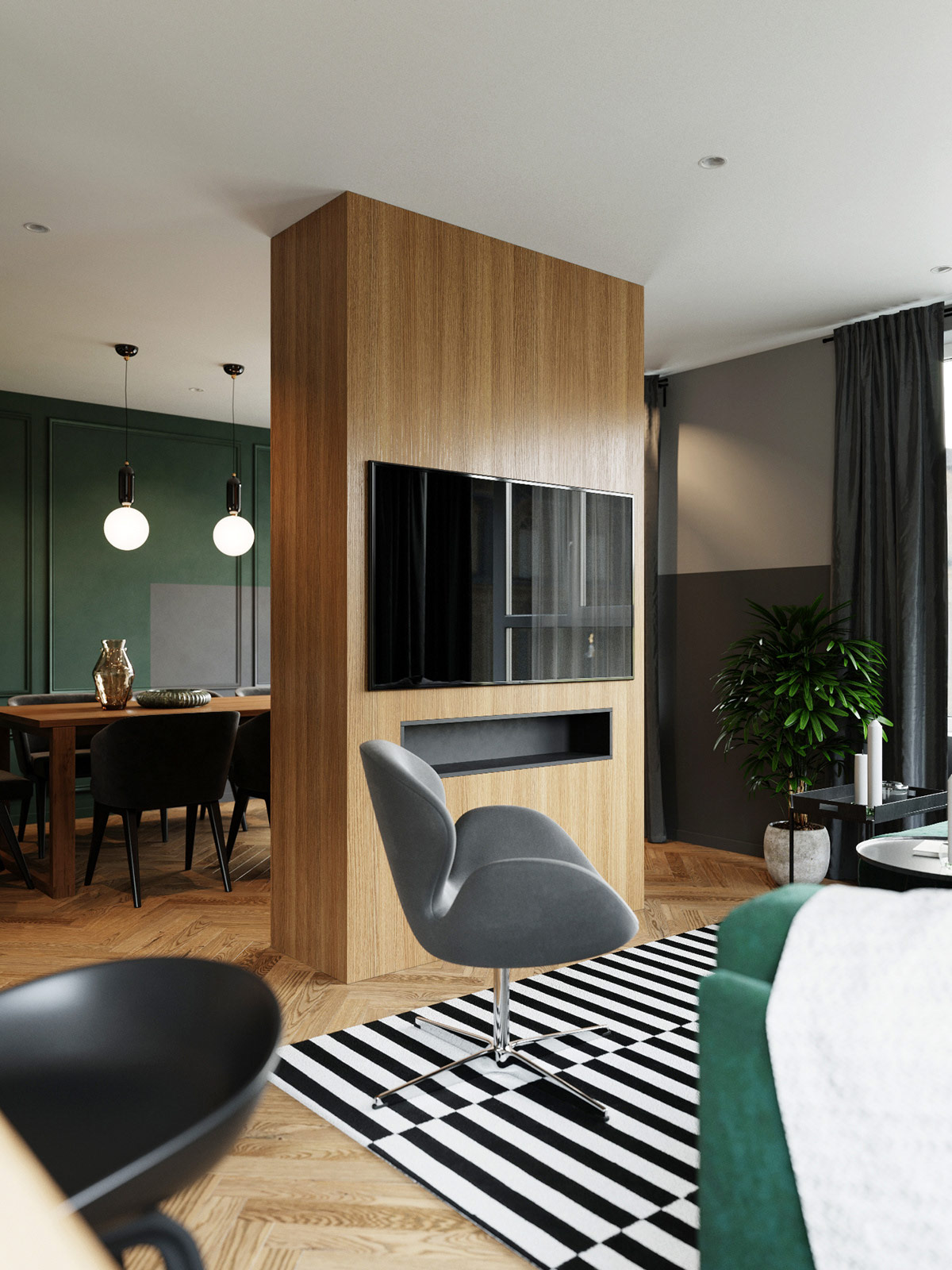 modern-apartment-emerald-green-accent-wall-wood-tones