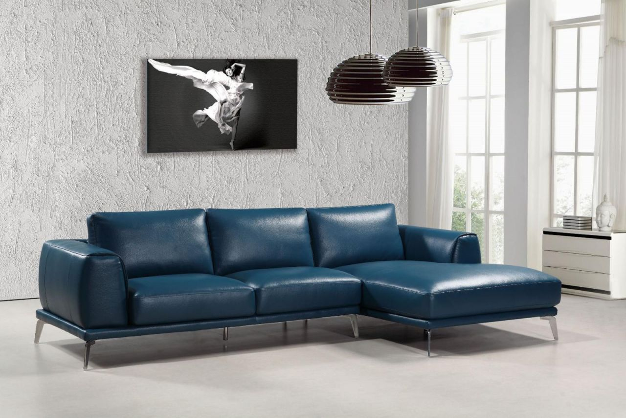 Modern Blue Bonded Leather Sectional Sofa Right Chaise Vig Divani Casa Drancy with Leather Sectional Modern
