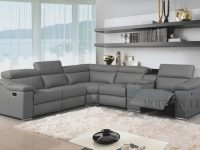 Modern Leather Reclining Sectional Grey Leather Modern Sectional with regard to Leather Sectional Modern