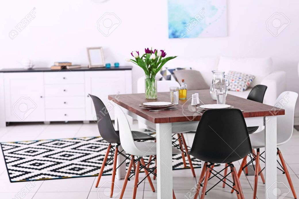 Modern Living Room. Furniture Set With Table And Chairs. Bouquet Of with Modern Living Room Chairs