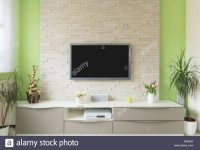 Modern Living Room Interior – Tv Mounted On Brick Wall With Black throughout Modern Living Room Tv Wall