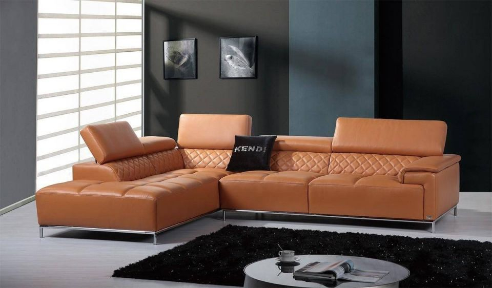 Modern Orange Italian Leather Sectional Sofa Left Facing Chaise Soflex Orlando in Leather Sectional Modern