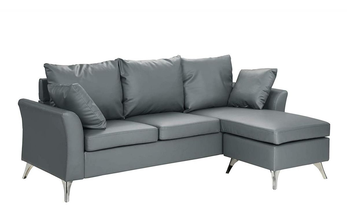 Modern Pu Leather Sectional Sofa – Small Space Configurable Couch (Blue) with Best of Leather Sectional Modern