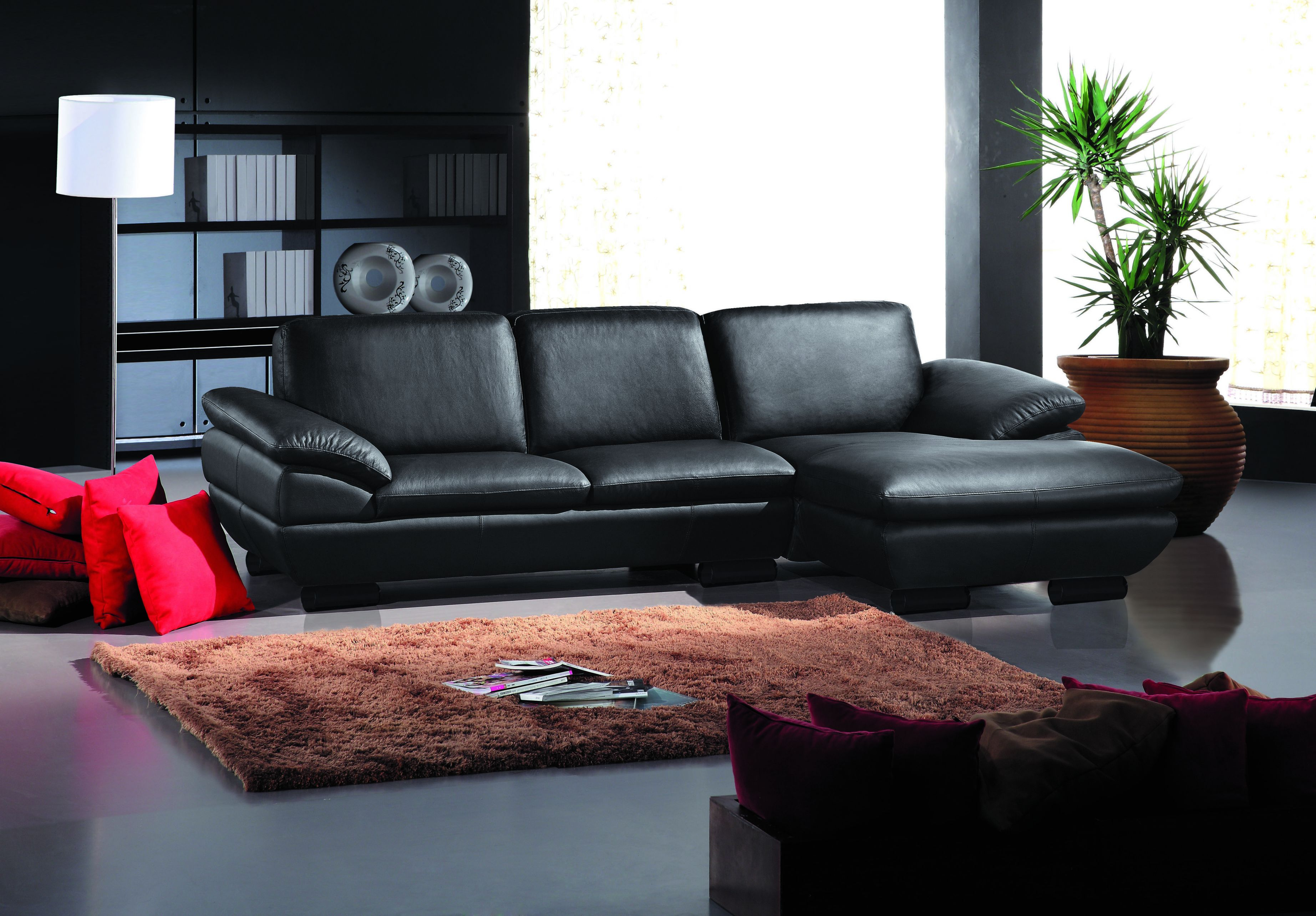 Modern Sectional Upholstered In Real Leather for Leather Sectional Modern