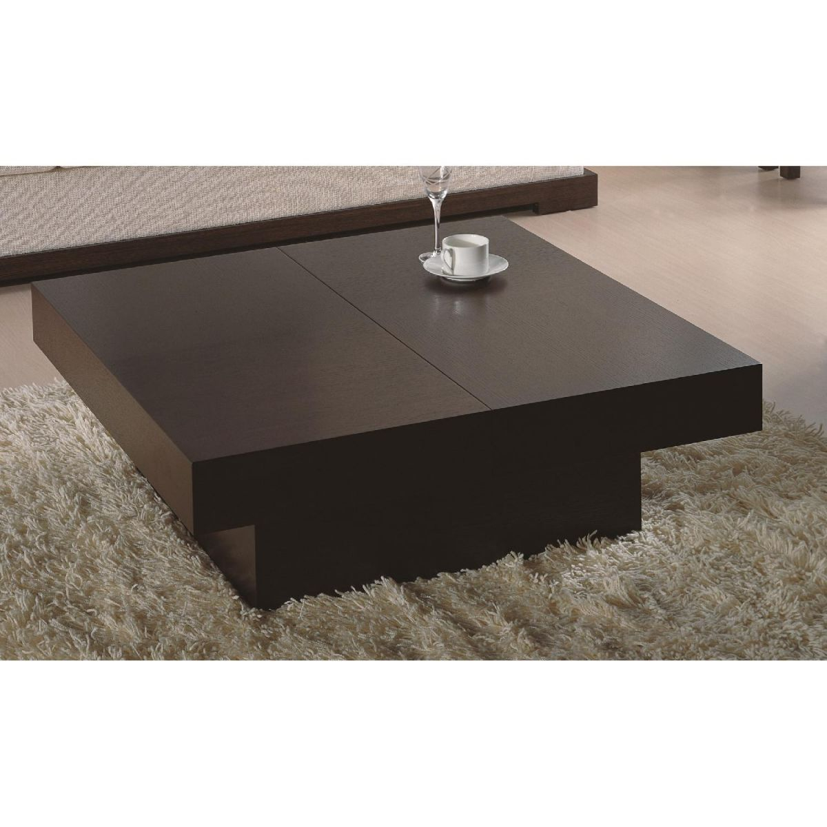 Modern Square Coffee Table In Wenge Finish W/ Hidden Storage for Elegant Square Coffee Table With Storage