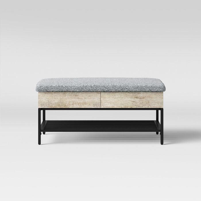 modern-storage-bench-with-wood-drawers-black-frame-and-contemporary-grey-cushion