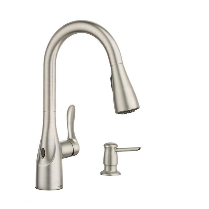 Moen Arlo Spot Resist Stainless 1-Handle Deck Mount Pull-Down throughout New Touchless Kitchen Faucet