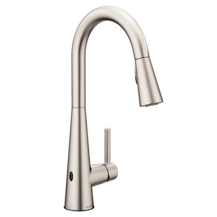 Moen Sleek Spot Resist Stainless 1-Handle Deck Mount High-Arc inside Touchless Kitchen Faucet