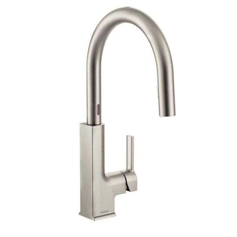 Moen Sto Single-Handle Pull-Down Sprayer Touchless Kitchen Faucet With Motionsense And Power Clean In Spot Resist Stainless for Touchless Kitchen Faucet