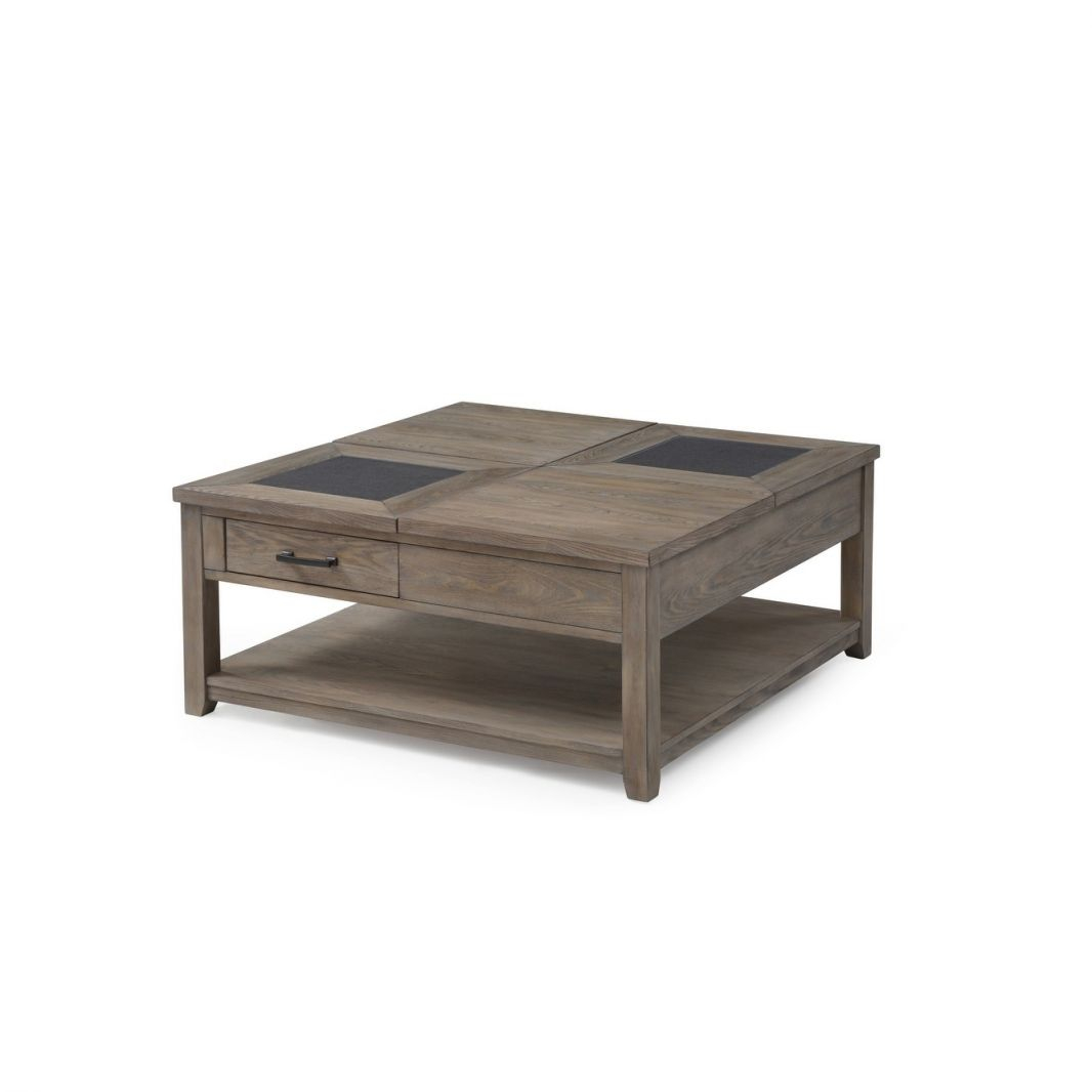 Nevada Honey Amber Square Coffee Table With Adjustable Height Top And  Hidden Storage with regard to Square Coffee Table With Storage