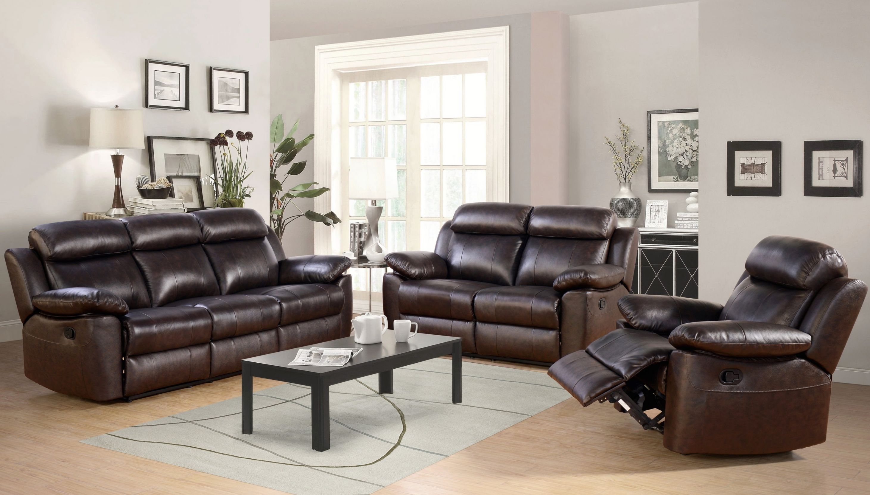 Oliver Reclining Leather 3 Piece Living Room Set regarding Awesome Leather Living Room Sets