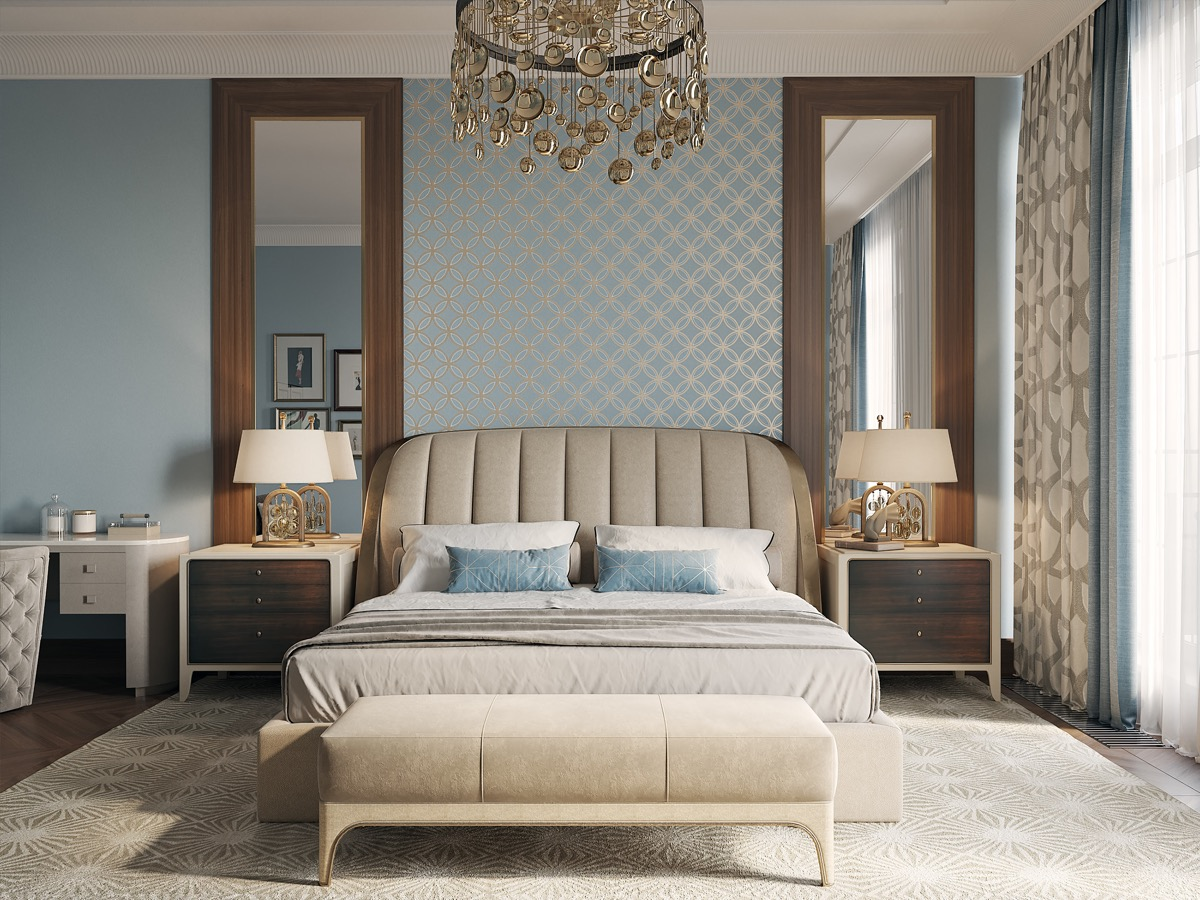 pattern-ideas-for-transitional-style-bedroom-designs-in-light-blue-and-gold