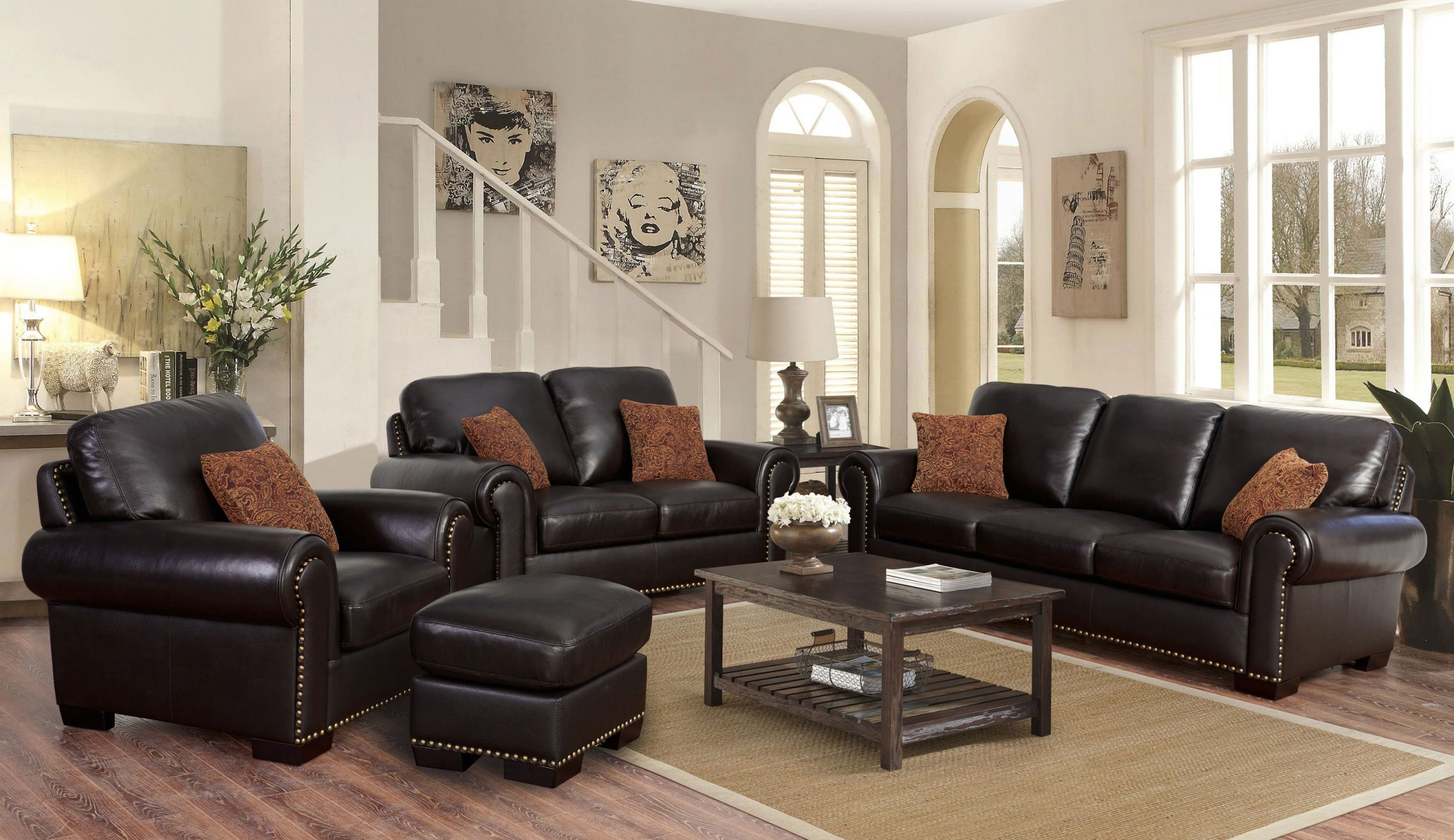 Preston 4-Piece Top Grain Leather Living Room Set in Awesome Leather Living Room Sets