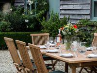 Rectangular Extending Teak Garden Dining Table | Parasol Hole with Beautiful Teak Outdoor Furniture Set