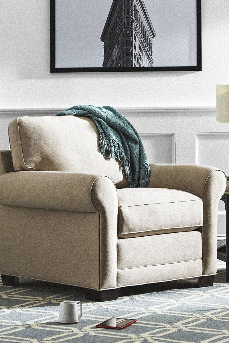 Round Arm Performance Fabric Chair intended for Awesome Chair Living Room Furniture