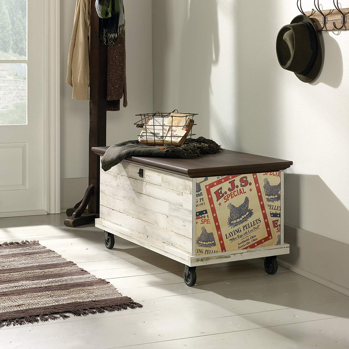 rustic-storage-bench-with-vintage-advertisement-decoration-and-non-swivel-caster-wheels
