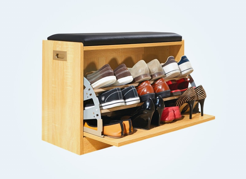shoe-storage-bench-with-swing-out-rack-and-black-cushion