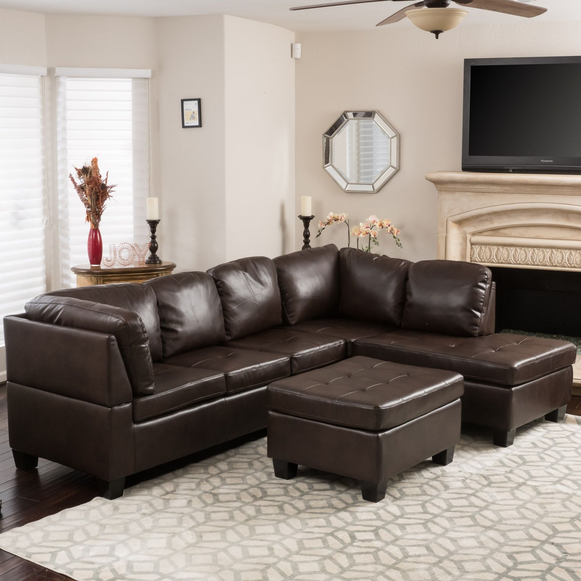 Shop Canterbury 3-Piece Pu Leather Sectional Sofa Setchristopher intended for Best of Leather Sectional Sofa