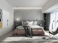 simple-modern-bedroom-with-millenial-pink-accents-and-brass-lighting