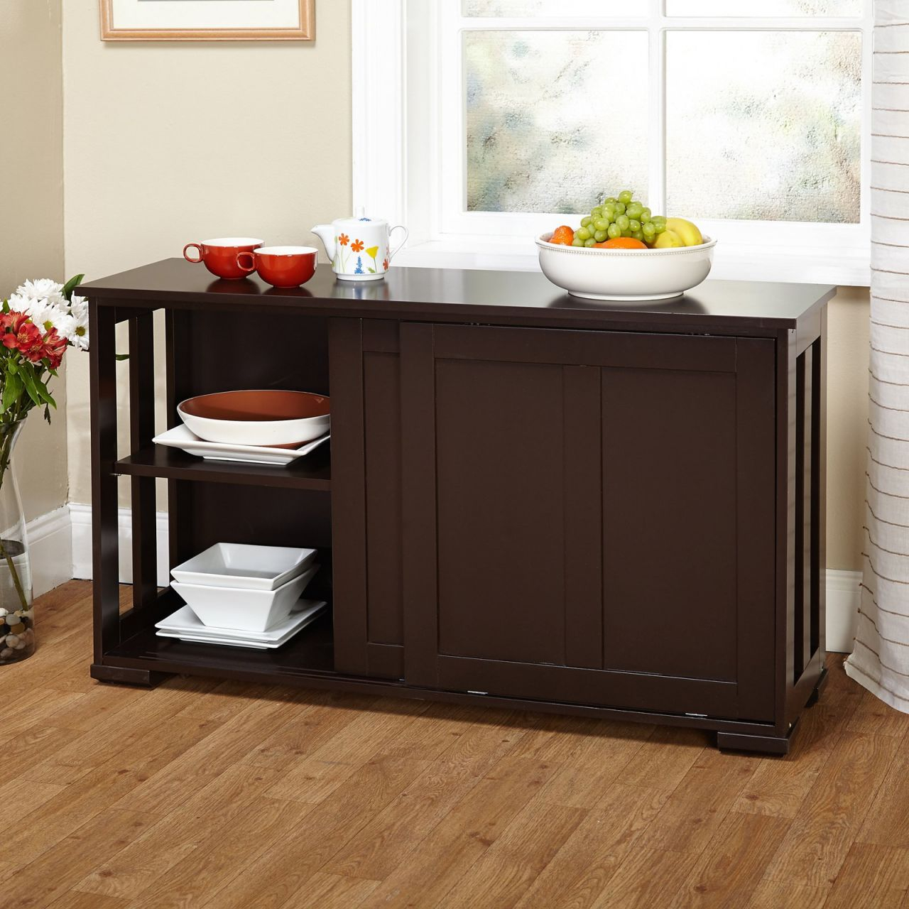 Sliding Wood Doors Stackable Storage Cabinet, Multiple Colors in Lovely Living Room Storage Cabinet With Doors