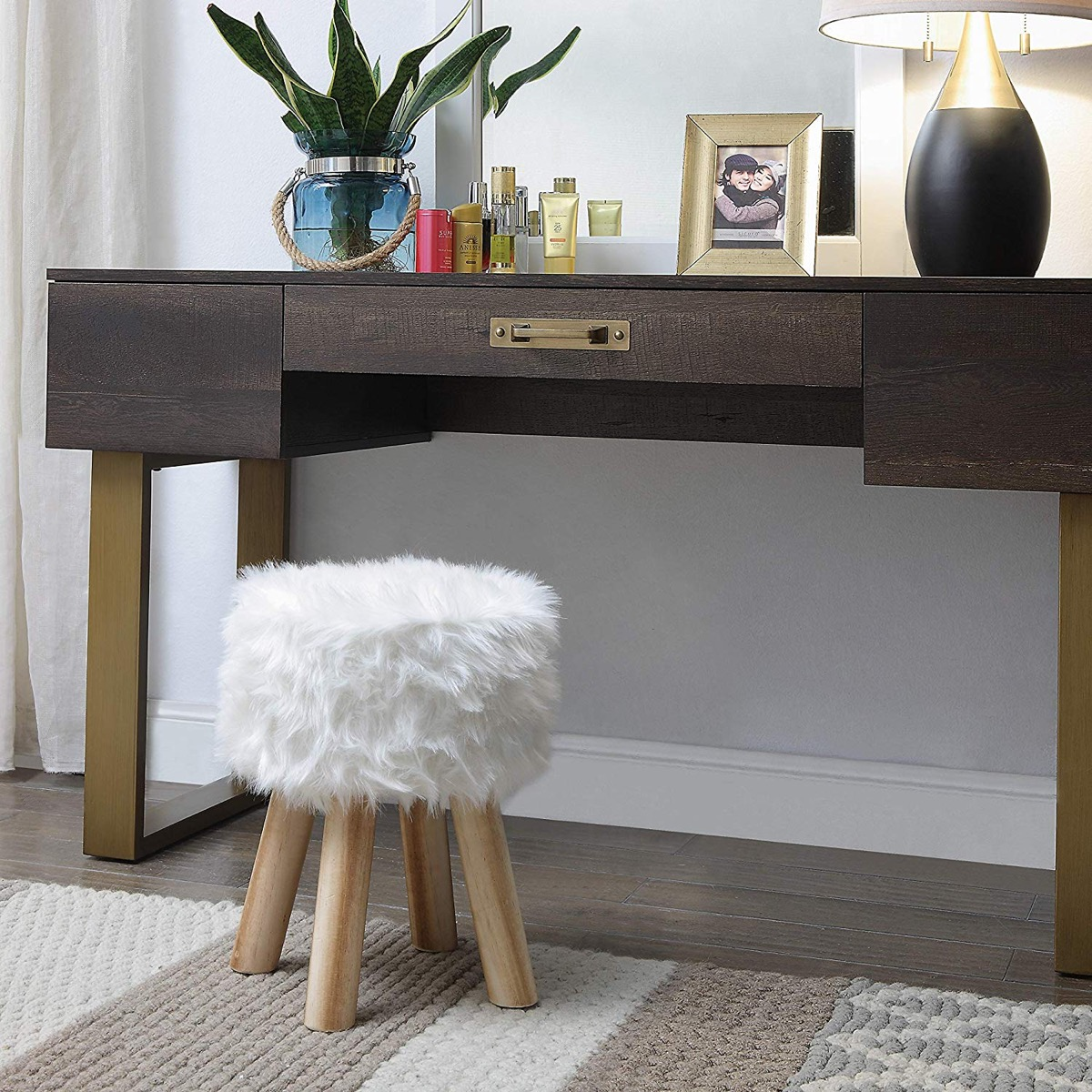 Image of: Small White Furry Vanity Stool For The Bedroom Awesome Decors