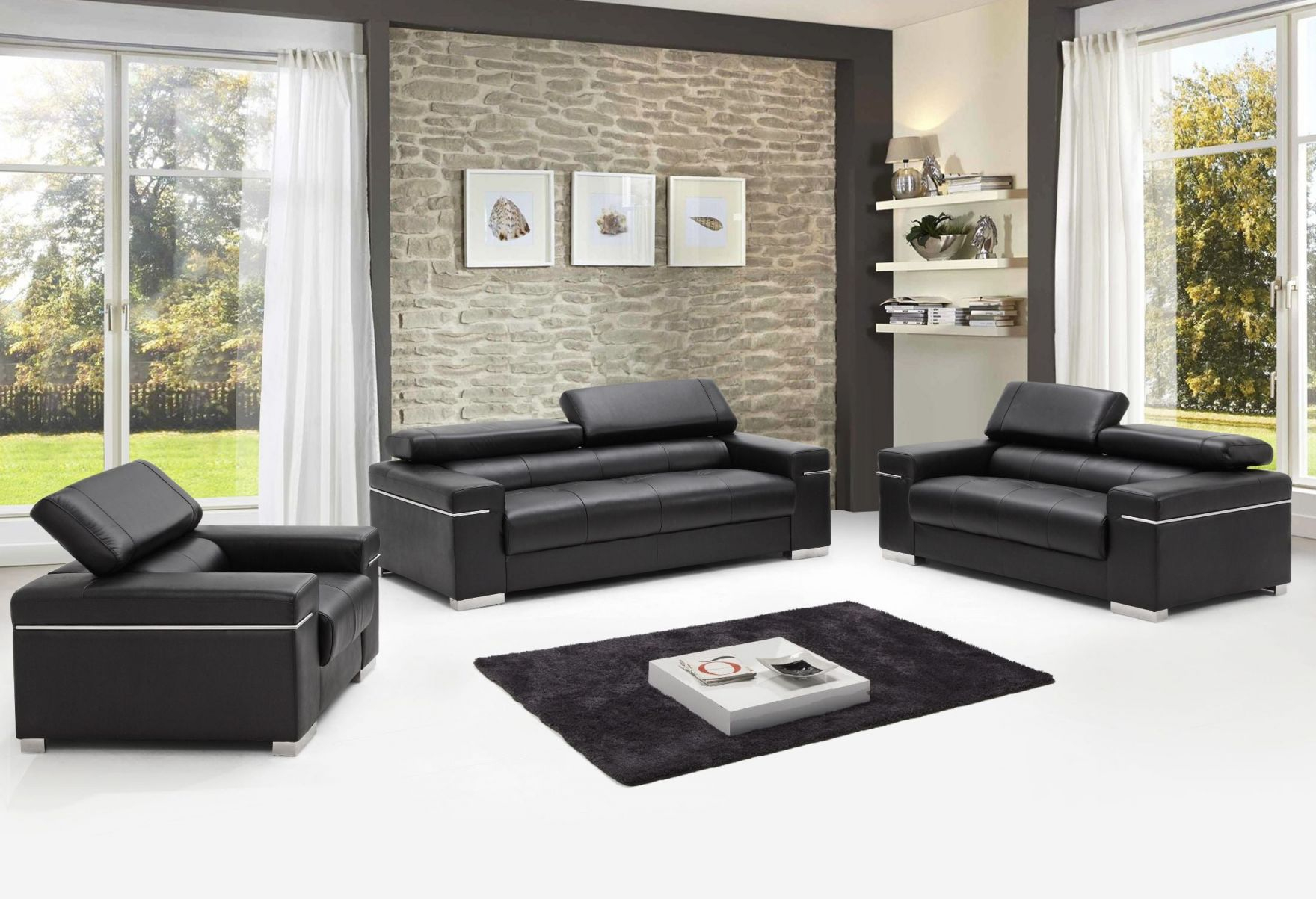 Soho Black Leather Living Room Set inside Awesome Leather Living Room Sets