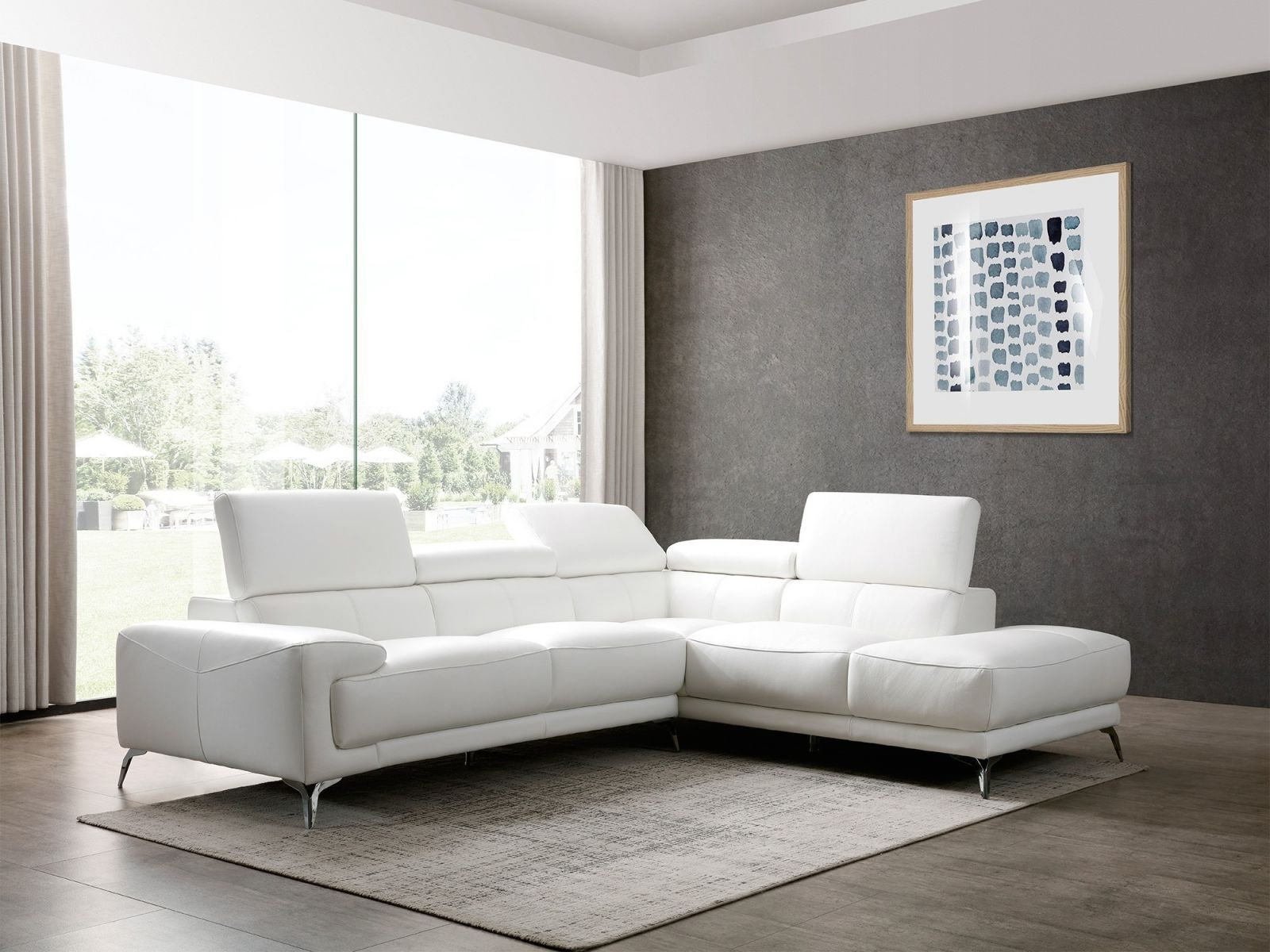 Sophia White Leather Modern Sectional inside Leather Sectional Modern