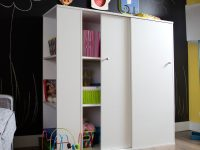 South Shore Crea Kids Storage Cabinet With Sliding Doors, White intended for Living Room Storage Cabinet With Doors