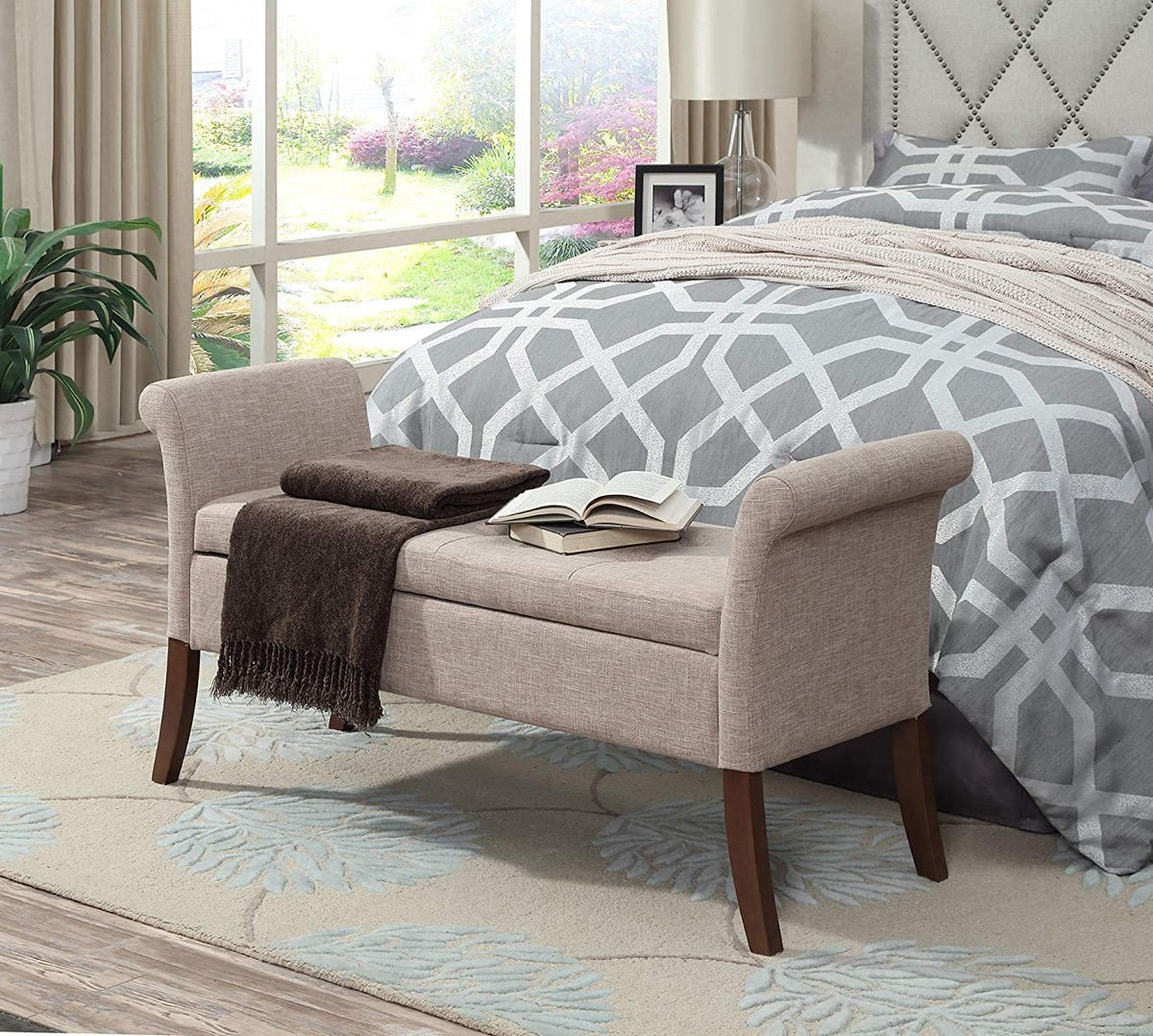 stylish-end-of-bed-storage-bench-with-rolled-armrests-and-beige-upholstery