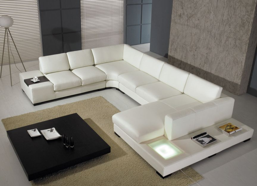 T 35 Modern Leather Sectional Sofa within Leather Sectional Sofa