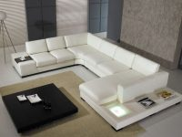 T35 White Leather Sectional Sofa With Lights inside Leather Sectional Modern
