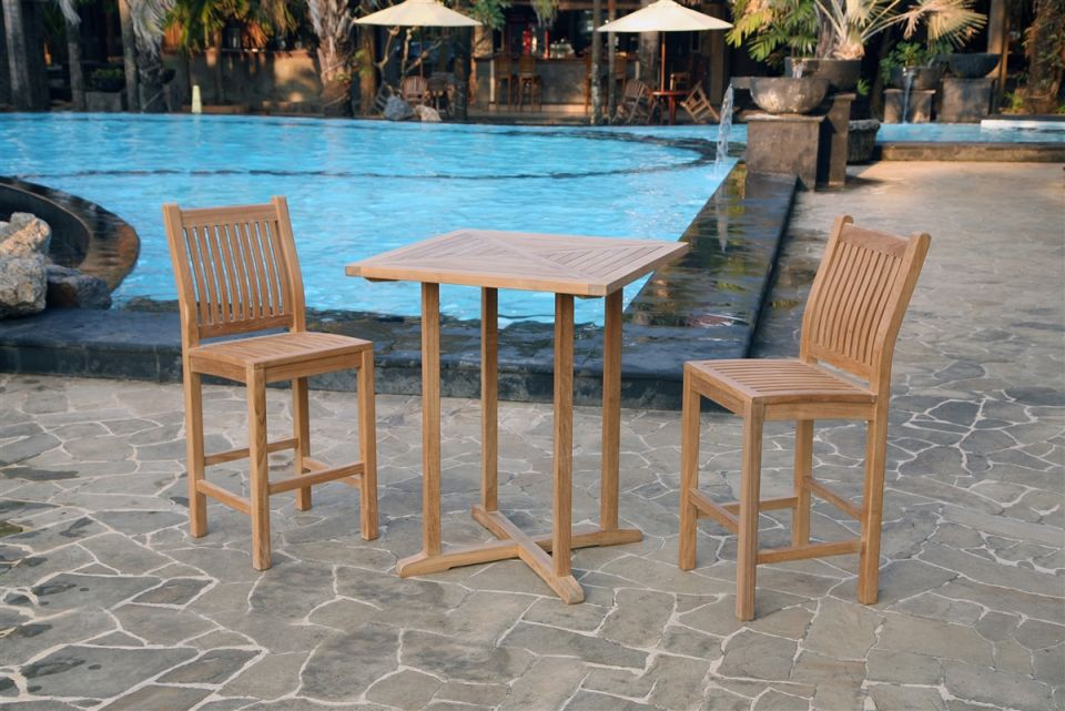 Teak Bar 3Pc Set intended for Beautiful Teak Outdoor Furniture Set