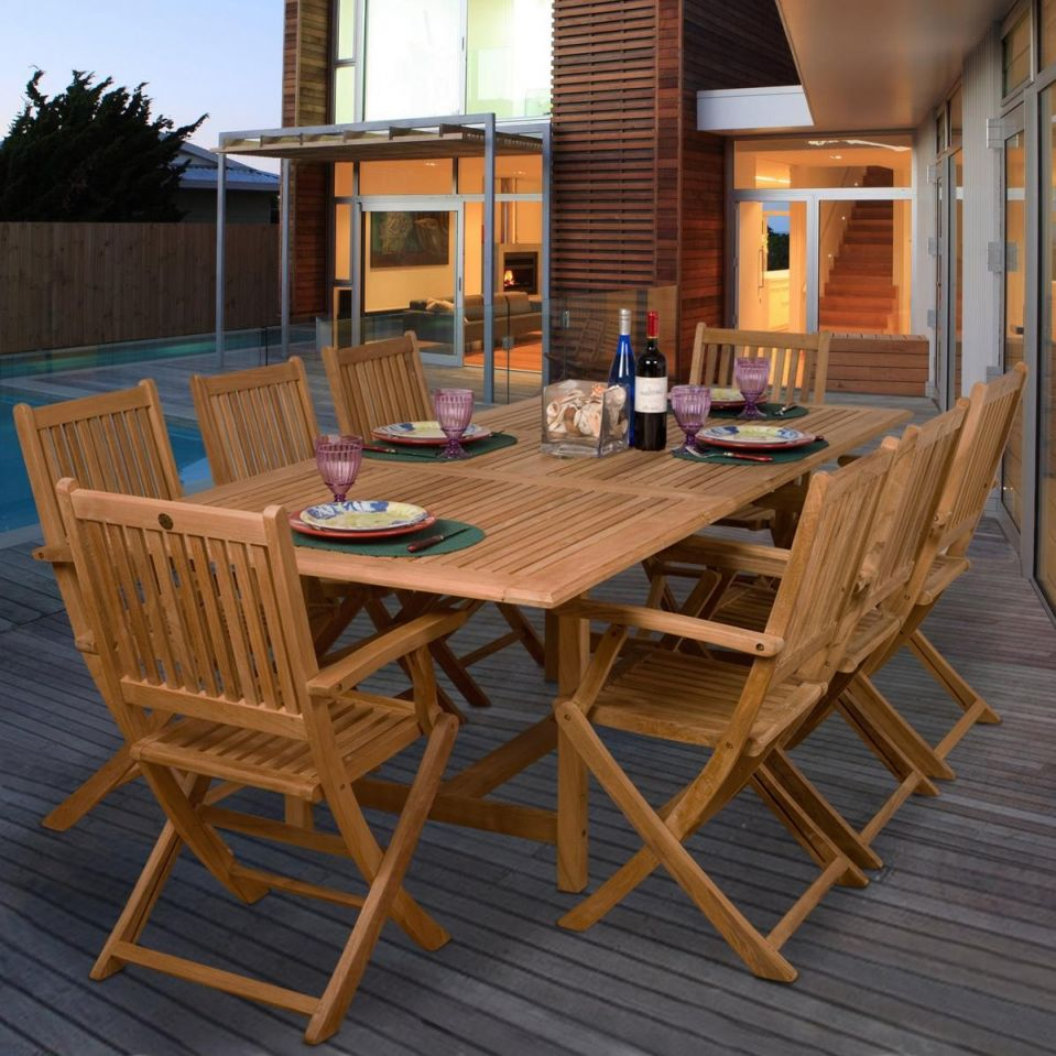 Teak Hamburg 9 Piece Teak Patio Dining Set With 67 X 39 Inch Rectangular  Extension Table And Folding Chairsia pertaining to Teak Outdoor Furniture Set