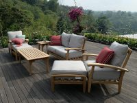 Teak Patio Furniture Outdoor 7 Pc Set Seating Beige Cushions Weather Resistant for Teak Outdoor Furniture Set